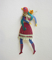Girl-Bird (paper sculpture) (Elsita (Elsa Mora)) Tags: flowers original sculpture woman bird texture nature colors girl leaves fashion paper one doll dress handmade cut snake decorative surreal battle scene kind etsy elsa mora elsita