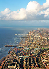 Blackpool @ Takeoff (silyld) Tags: uk sea england sky tower water clouds pier flying fromabove lancashire promenade ryanair airborne funfair takeoff blackpool aerialphotography centralpier southpier pleasurebeach blackpooltower stagparty northpier
