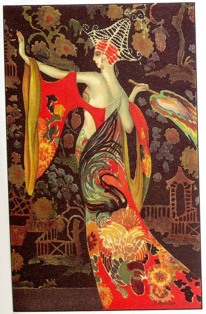 The Flapper Girl: M. Montedoro, Art Deco postcard 5, 1920s