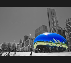Millenium Park (johnofarch14) Tags: park city blackandwhite sun chicago building nature architecture buildings photography design landscapes illinois downtown cityscape image outdoor samsung chitown bean sunburst millenniumpark cloudgate thebean pointshoot schneider selectivecolor kreuznach colorization ex1 tl500 mygearandme mygearandmepremium
