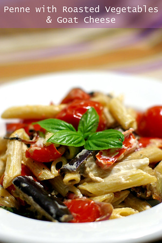 Penne with roasted vegetables & goat cheese