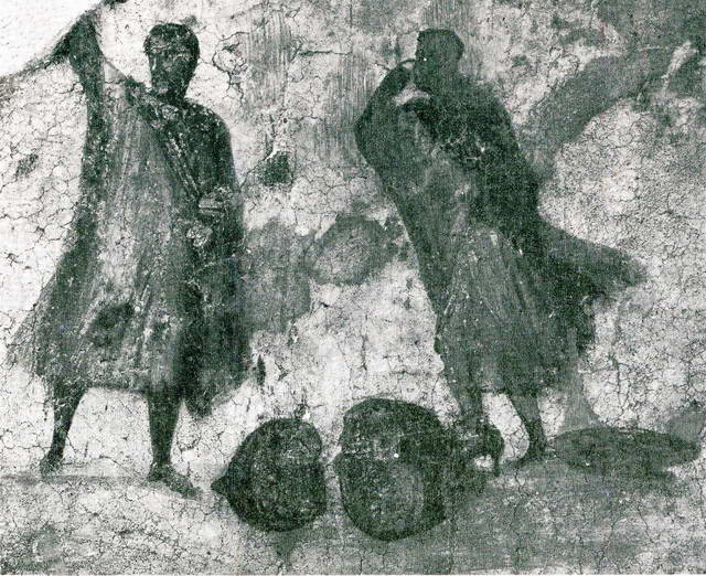 Disputants before a judge, over a broken oil amphora (Ostia, Archaeological Museum)