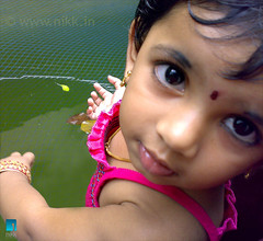 What's up ? (:: niKk clicKs ::) Tags: pink portrait fish green net water smile leaf fishpond nikk shivapriya picnikk