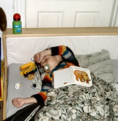 Michael asleep with book