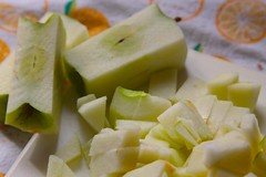cutting up the apples to make the filling