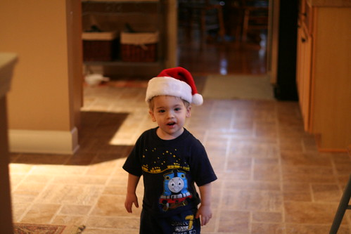 Walker trying out the Santa hat