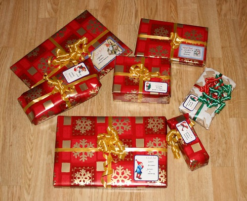 The xmas presents are wrapped