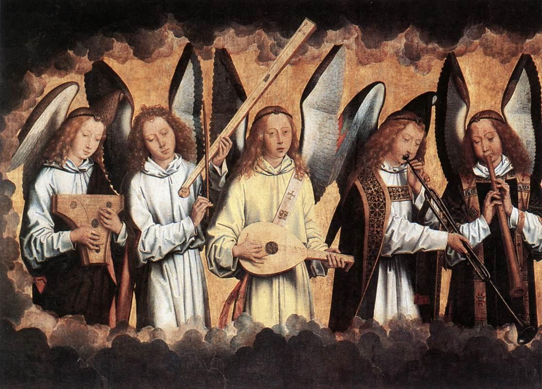 MEMLING, Hans Angel Musicians (left panel), 1480s