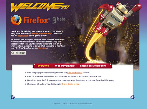 Firefox 3, Mozilla, first run page