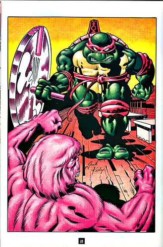 "Turtle Soup #4 pg.20 ..art by Thibodeaux & JACK KIRBY from the story ""TEENAGE MUTANT NINJA TURTLE"" by Mark Thibodeaux & Guy Romano  [[ Mike v. Troll ]]  (( 1992 ))"