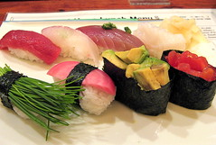 Himawari sushi set (SmALl CloUd ...) Tags: food fish seaweed green japan tomato sushi japanese restaurant tokyo avocado ginger spring yummy rice vegetable hills delicious daikon  aoyama 2008 hanasushi omotensando