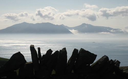 Mist falling from Arran, viewed from Golldenberry hill Hunterston