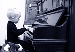 Piano Boy with toy Dog (Trondelarius) Tags: boy playing norway vintage stavanger nikon artist piano sigma upright rogaland d300 30mm klavier tangenter brdrenehals