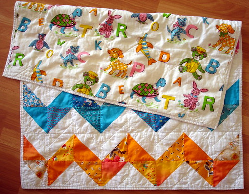 back of zig zag baby quilt
