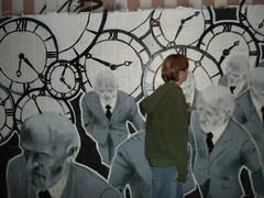 streetart (mischa meekes) Tags: art germany graffiti time bald rush baldmen clocks