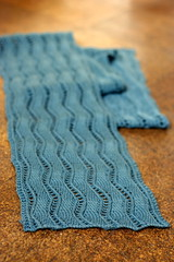 Lace Ribbon (a shrill caramel) Tags: knitting fos knitty veronikavery owool laceribbonscarf iheartthisscarf