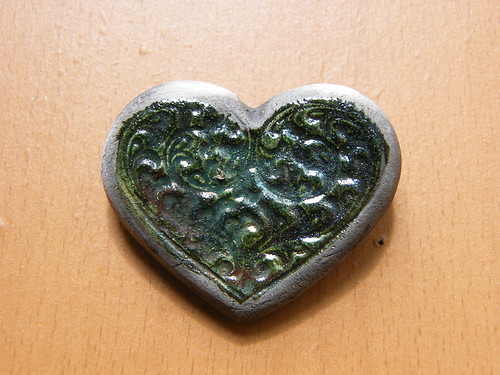 Raku Heart Brooch