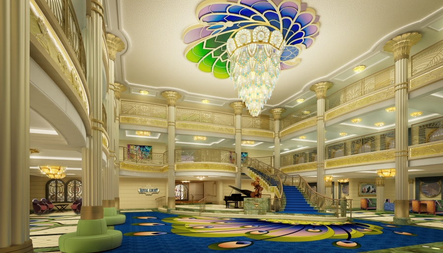 Glamorous and graceful design elements are apparent throughout the Art Nouveau-inspired atrium lobby on the Disney Fantasy.
