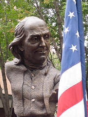 Keys To Community: Ben Franklin and flag