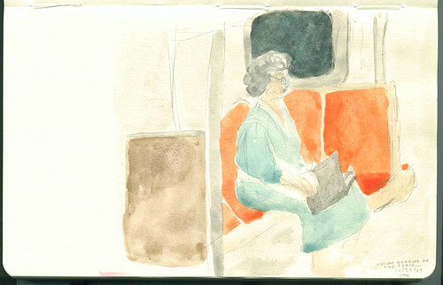lunchtime painting - woman on the train