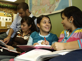 Andres Castano, 24, Luisa Durango, 17, Gabriela Barrera, 17, and Daniela Garcia Bedoya, 17, study at Inlingua ESL school.