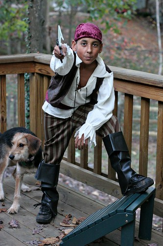 Dashing pirate and vicious pirate dog