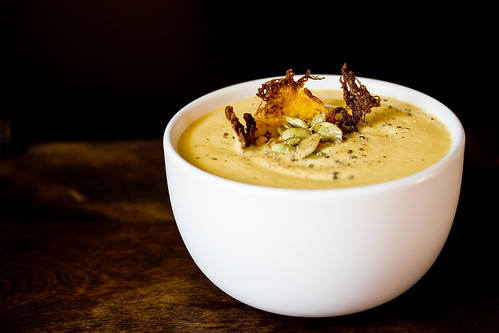 Rutabaga Sweet Potato Soup with Fried Spaghetti Squash and Toasted Pepitas