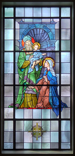 Mary Queen of Peace Roman Catholic Church, in Webster Groves, Missouri, USA - stained glass window of the Presentation.jpg