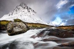 The Great Outdoors (gms) Tags: longexposure winter mountain snow cold clouds river outdoors scotland glencoe buachaille buachailleetivemor