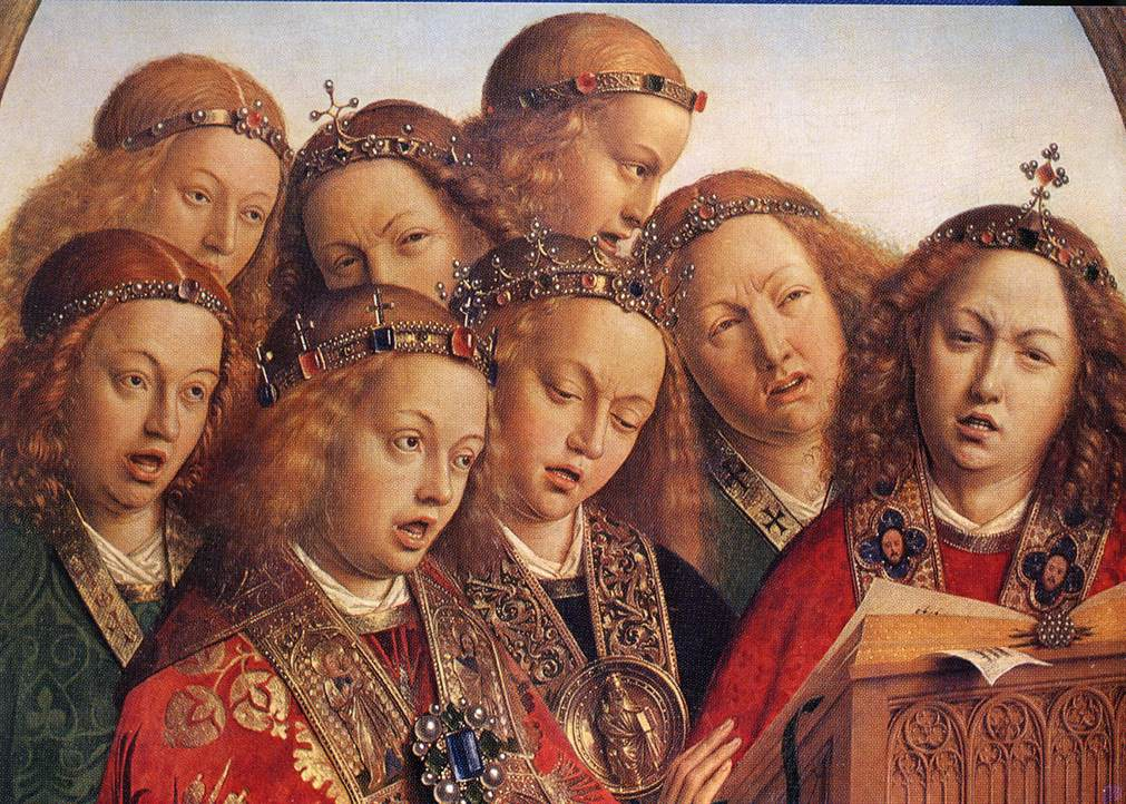EYCK, Jan van The Ghent Altarpiece, Singing Angels. 1427-29