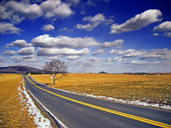Country Mile (Nicholas_T) Tags: road winter sky snow clouds rural landscape pennsylvania brightlight cumulus creativecommons berkscounty bluemountain greatvalley kittatinnymountain greenwichtownship spitzenberghill