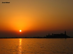 Magnificent Sunset (jeevan_balwant) Tags: ocean sunset sea orange sun india tourism nature mystery amber big dusk deep peaceful mosque romance serenity backdrop romantic mumbai universe amateur dreamland photogenic hajiali magnificentsunset dargah amateurphotographer amateurphotography touristdestinations hajialidargah jeevanbalwant jeevbalwant