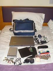 Laptop bag contents (Aaron Bassett) Tags: bag toys portable advent geek laptop vista
