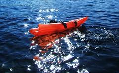 Orange Float   Croatia (astoria4u) Tags: blue sea orange sun beach water bay mare croatia twinkle sparkle more sunburst burst float croazia luft adriatic hrvatska krk otok jadran luftmatratze jadransko sunbursts mywinners