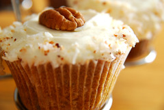 Carrot, Golden Raisin, Orange, Pecan and Coconut Cupcakes.