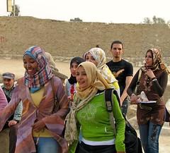 Giza, Egypt (Daniel Kliza) Tags: girls portrait woman girl smile face sphinx scarf laughing portraits happy women faces muslim headscarf egypt hijab wrap neighborhood egyptian laugh pyramids shawl neighbour neighbor giza neighbourhood nextdoor girlnextdoor egyptians headkerchief