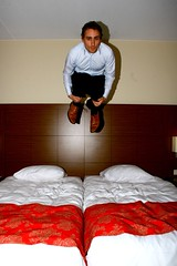 Trying to make a dry splash (joelfrijhoff) Tags: hotel jump room flash float canon30d bedjump joelfrijhoff wwwjoelfrijhoffcom