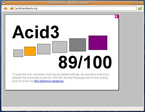Bilan de Webkit en date du 22 mars 2008 sous Acid3