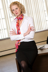 Mature Business Woman (MarkHayesPhotography) Tags: woman girl beautiful female hair one office desk mature attractive workplace manager forties confident oneperson confidence officeworker workforce armscrossed officestaff busineswoman