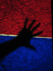 Fuzzy hand shadow (tradica) Tags: blue red hand creative commons creativecommons common whiteline handshadow blueworld redworld freeimage freepicture fuzzyhand handpenetrates penetratesthe linebetween