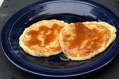 Buttermilk Pancakes with Salted Caramel Coulis