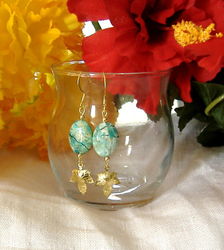Turquoise stone earrings with gold leaf