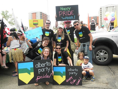 A photo of the Alberta Party crew at Edmonton's 2011 Pride Parade.
