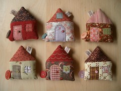 House Tape Measures 19-24 (PatchworkPottery) Tags: house handmade sewing crafts country tape button quilted patchwork measure applique measuring retractable