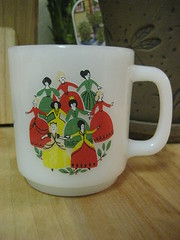 Glasbake Princesses Mug (Jade-Li) Tags: vintage mug glasbake milkglass