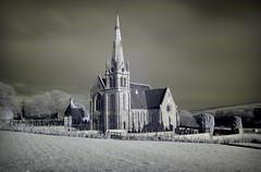 Auchterless church (Szmytke) Tags: red building church topf25 topc25 topv111 ir scotland topf50 topv555 topv333 exposure aberdeenshire filter infrared infra hoya r72 interestingness6 interestingness31 i500 auchterless 28dec07