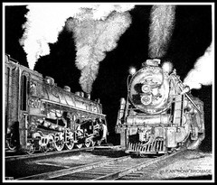 BROCKVILLE DEPOT, ONTARIO, CANADA (Norfolkboy1) Tags: railroad original ontario canada pen ink drawing steam depot locomotive brockville stipple rapidograph 464 panthonybromage