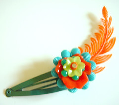 Green and Orange Vintage Flowers Barrette