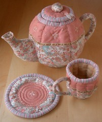 Quilted Tea Set (PatchworkPottery) Tags: set tea handmade sewing crafts country fabric quilted teapot patchwork teacup emboidery saucer teaset