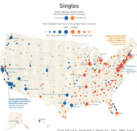 Map of Singles in the United States